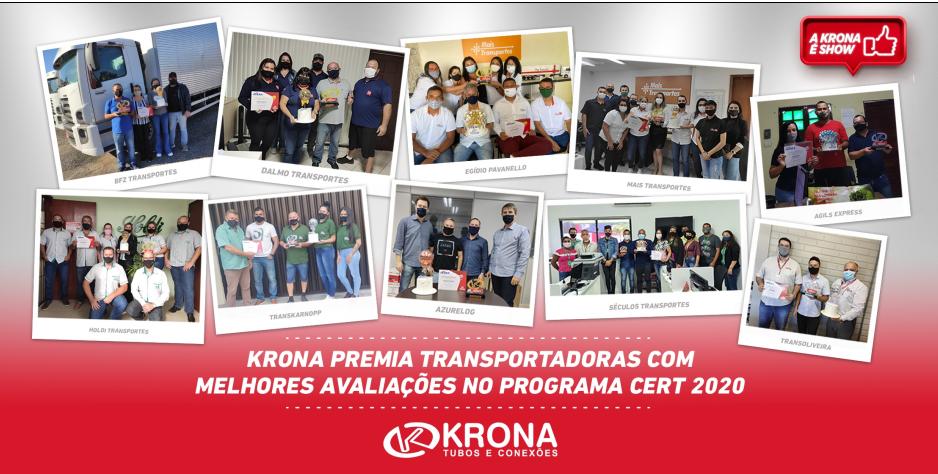 KRONA premia transportadoras com melhor pontuação no programa CERT